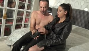 Hard Blowjob, Handjob and Fucking in Long Leather Coat part 1