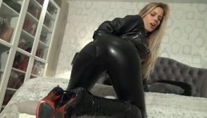 Hot Blonde Loves Her Tight Black Leather Clothes