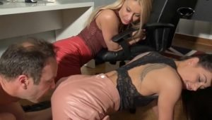 Leather Office Sluts, Lick Sperm From a Leather Skirt part 1