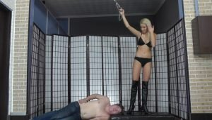 Mistress Ariel in Leather Boots with High Heels, Trampling Heels on Slave's Face