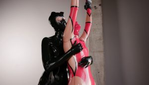 Savannah and Vespa – Serious Business in Red & Black Latex