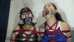 Nose Hooks and Gags Galore Gagged Latex Women, 2 Japanese Girls Bound Together and Toyed With by Gang of Masked Men 2