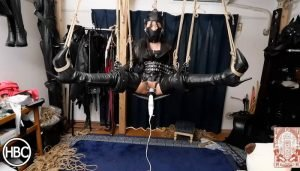 Lady Hinako Vibed While Spread Leg Suspended in Leather by Mistress Chiaki
