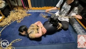 Mistress Chiaki Gags and Hogties Lady Hinako in Rope and Tickles Her