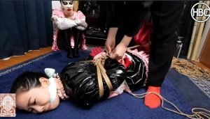PVC Maid Gagged and Crossdressing Satin Maid are Tied Together in Rope and Have Tickle Fight