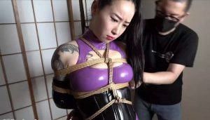 HBC X Kinbaku Work; Gagged Japanese Girl Wearing All PVC Enamel Clothing is Tied in Rope Bondage, Vibed and Tickled