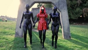 A Walk in the Park in Black & Red Latex Shorts Clip