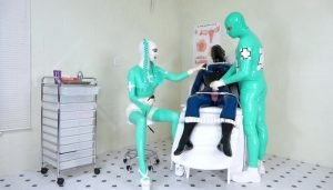 Estim Treatment in the Latexclinic with Rubberfreak and Latex Lara