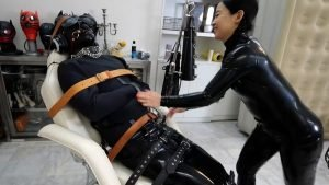 Sub Blows a Huge Load in Latex Bondage; Latex Catsuit and Rest Sack, Canvas Straitjacket and More