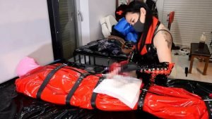 Hinako in PVC nurse uniform treats her slave's illness