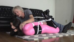 Arielle tied up in latex suit at casting