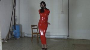 Belle in tight latex dress bound and gagged