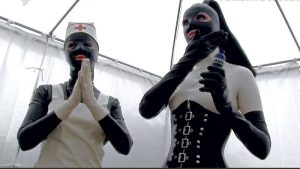 Shining latex costumes from the series Field Hospital