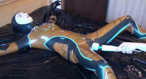 Latex Catsuit Bedridden and Hitachi Pleasure