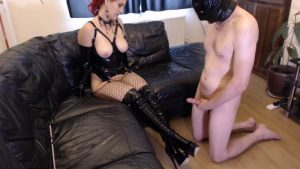 Goddess Ruby allows her slave cum on PVC boots